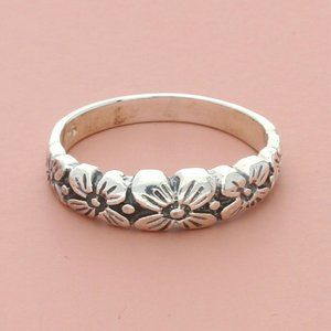 sterling silver floral flowers band ring